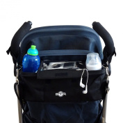 BTR Pram Buggy Buddy Stroller Organiser Storage Bag With Mobile phone holder & Rain cover - Black - Water Resistant