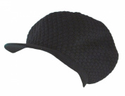 Women's Soft Knitted Rasta Beanie/Cap/Hat with Visor Brim - Navy, Christmas Gift