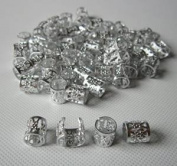 Dread Lock Dreadlocks Braiding Beads SILVER Metal Cuffs Hair Accesories Decoration Filigree Tube 6mm 12pcs Pack