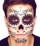Black Skeleton Day of the Dead Temporary Face Tattoo Kit