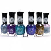 KLEANCOLOR NAIL POLISH 3D ADDICTION GLITTER TOP COAT LOT OF 6 colours KNP16 + FREE EARRING