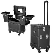 Pro Professional 4 Wheel Rolling Cosmetic Makeup Train Case Drawers Jewellery With Lock Black