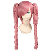 Weeck Anime Long Curly Luka Spiral Clip on Ponytail Miku Pink Cosplay Wigs