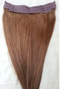 50cm 100% HALO Human Hair Extensions (ONE PIECE NO CLIP) with an adjustable invisible wire (Fishing String)#6 Medium Chestnut Brown
