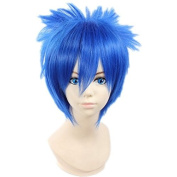 Weeck Anime Blue Party Male Short Fairy Tail Misuto Cosplay Wigs