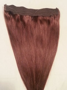 50cm 100% HALO Human Hair Extensions (ONE PIECE NO CLIP) with an adjustable invisible wire (Fishing String) #4 Dark Brown