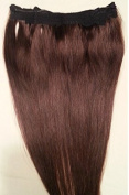 50cm 100% HALO Human Hair Extensions (ONE PIECE NO CLIP) with an adjustable invisible wire (Fishing String)#2 Darkest Brown