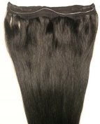 50cm 100% HALO Human Hair Extensions (ONE PIECE NO CLIP) with an adjustable invisible wire (Fishing String) #1 Jet Black