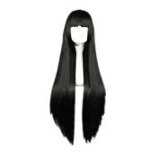 Weeck Anime Long Straight Inuyasha Araragi Karen Black Cosplay Wigs