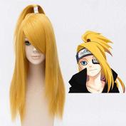 Weeck Long Anime Naruto Deidara Golden Hair Cosplay Wigs