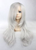 Weeck Long Inuyasha Wave Silver White Curly Anime Cosplay Wigs