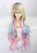 Weeck Long Girl's Wave Lolita Rainbow Harajuku Dance Cosplay Wigs