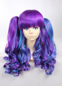Weeck Blue Purple Women Curly Ponytail Harajuku Lolita Party Cosplay Wigs