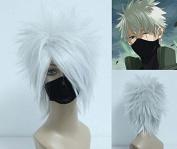 Weeck Shrot Hair Naruto White Synthetic Cosplay Anime Hatake Kakashi Wigs