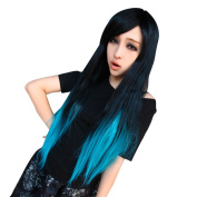 Women Wig Harajuku Ombre Black mixed Blue Long Straight Curly Cosplay Hair Wigs Halloween