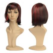 LeWang Womens Short Striaght Lolita Bobo Hair Heat Resistant Cosplay Party Full Wig + Wig Cap