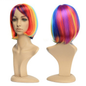 LeWang Womens Short Striaght Lolita Bobo Hair Heat Resistant Cosplay Party Full Wig + Wig Cap