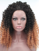 Sylvia Afro Long Tight Curly High Density Mixed Colour Lace Front Wig