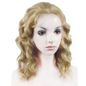 New Colour!Lace Wig Short Wave Heat Resistant Synthetic Lace Front Wig Mixed Blonde