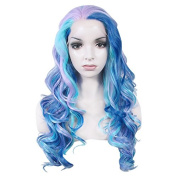 New Colour!lace Wig Long Wave Heat Resistant Synthetic Lace Front Wig Multicolor