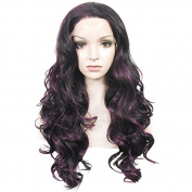New Colour Lace Wig Long Wave Heat Resistant Synthetic Lace Front Wig Purple Mixed Black