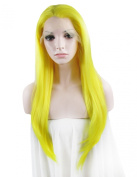 Lace Front Wig Long Straight Highlight Yellow Heat Resistant Synthetic Wig