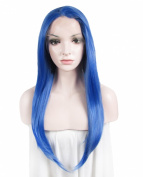 Lace Wig Lake Blue Long Straight Heat Resistant Synthetic Lace Front Wig