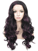 Imstyle® Extra Long Body Wavy Black Mixed Purple Cosplay Synthetic Lace Front Wig