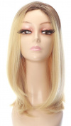 Rabbitgoo High Quality Medium Length Hair Light Gold Straight Full Blonde Wig with Wig Cap for Women