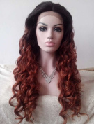 Sylvia Sexy Top Selling Ombre Colour Long Wavy Synthetic Lace Front Wig