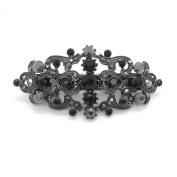 Bridal Hair Barrette Black Plated Romancing Heart Rhinestone Crystal Small 6.4cm
