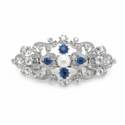 Bridal Hair Barrette Something Blue Crystal Simulated Pearl Romancing Heart Rhinestone Small 6.4cm