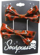 Red Leopard Glitter Hair Bow Clips - Set of Two - From Sourpuss Clothing