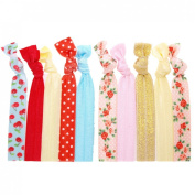 """Ouchless No Crease Hair Ties Elastics (Solids, Prints & Glitter) - 10 Pack """"Floral"""""""