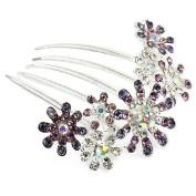 Ecloud ShopUS® Multiple Flower Purple Rhinestone Comb Bridal Wedding Hair Clip