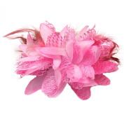 Ecloud ShopUS® Pink Flower Feather Bead Girl Corsage Bridal Hair Clip Pin Brooch headdress