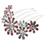 Ecloud ShopUS® Multiple Flower Pink Rhinestone Comb Bridal Wedding Hair Clip