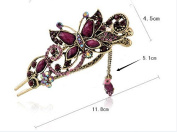 Ecloud ShopUS® Purple Butterfly Vintage Rhinestone Jewellery Crystal Hairpins Hair