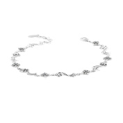 Korean Popular 925 Sterling Silver Crystal Rhinestone Beads Chain Bracelet Bangle-Silver for Women/Girls