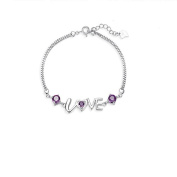 Korean Popular 925 Sterling Silver Crystal Rhinestone Love Chain Bracelet Bangle-Silver for Women/Girls