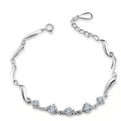 Korean Popular 925 Sterling Silver Crystal Rhinestone Chain Bracelet Bangle-Silver for Women/Girls