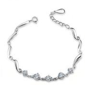 Korean Popular 925 Sterling Silver Crystal Rhinestone Chain Bracelet Bangle-Silver for Women/Girls