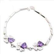 Korean Popular 925 Sterling Silver Crystal Rhinestone Four-leaf clover Chain Bracelet Bangle-Silver for Women/Girls