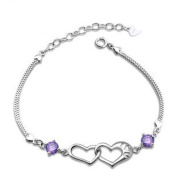 Korean Popular 925 Sterling Silver Crystal Rhinestone Double Hearts Chain Bracelet Bangle-Silver for Women/Girls