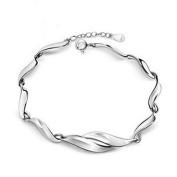 Korean Popular 925 Sterling Silver Crystal Rhinestone Warped geometry Chain Bracelet Bangle-Silver for Women/Girls