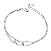 Korean Popular 925 Sterling Silver Heart Chain Bracelet Bangle-Silver for Women/Girls