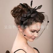 Black Handmade Bowknot Feather Gauze Veil Face Concealed Banquet Headdress Hair Ornaments Bride Bridal Wedding Accessory Hair Head Wear Hat