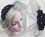 Handmade Rhinestone Vintage Yarn Gauze Face Concealed Banquet Headdress Hair Ornaments Bride Bridal Wedding Accessory Hair Head Wear