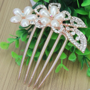 Ecloud ShopUS® Fashion Shiny Wedding Rhinestone Crystal Pearl Flower Leaf Hair Comb