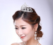 Silver Crystal Diamond Bride Bridal Wedding Accessory Hair Head Band Wear Rhinestone Jewellery Headdress Headband Tiara Crown